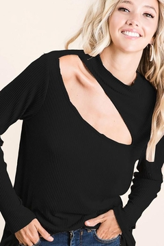 Bibi Soft Rib Knit Top With Front Neck Cut Out - Product List Image