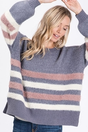 Bibi Soft Solid And Stripe Knit Pullover Sweater - Product Mini Image
