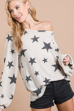 Bibi Star Print Puff Bubble Sleeve Tunic Top - Alternate List Image