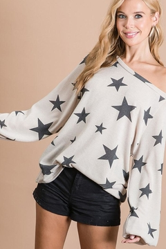 Bibi Star Print Puff Bubble Sleeve Tunic Top - Product List Image