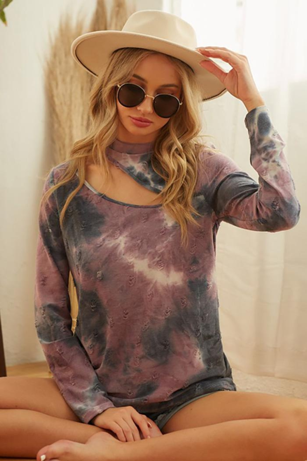 Bibi Tie Dye Distressed Knit Top With Front Neck Cut Out - Main Image