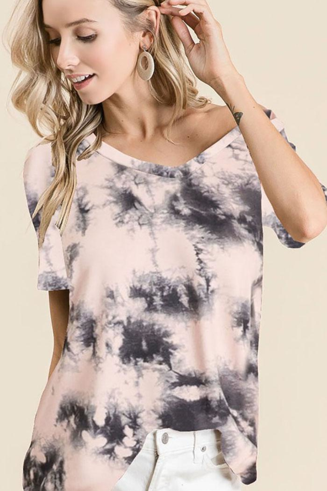 Bibi Tie Dye Loose Fit Top - Front Cropped Image