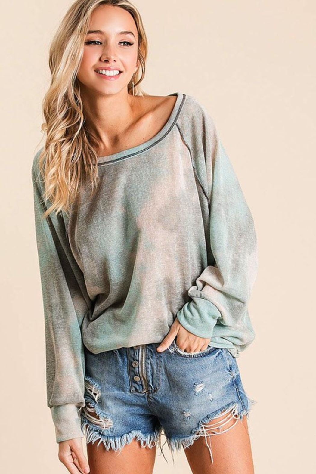 Bibi Tie Dye Loose Fit Top With Stitching Details - Front Full Image