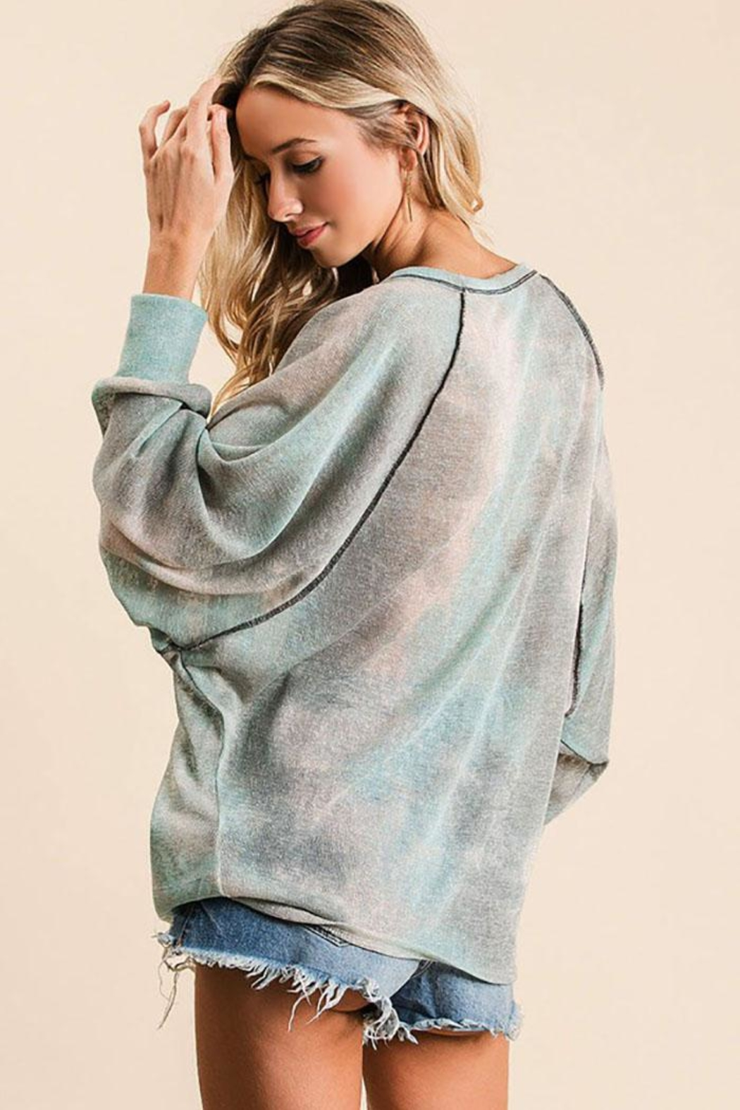 Bibi Tie Dye Loose Fit Top With Stitching Details - Side Cropped Image