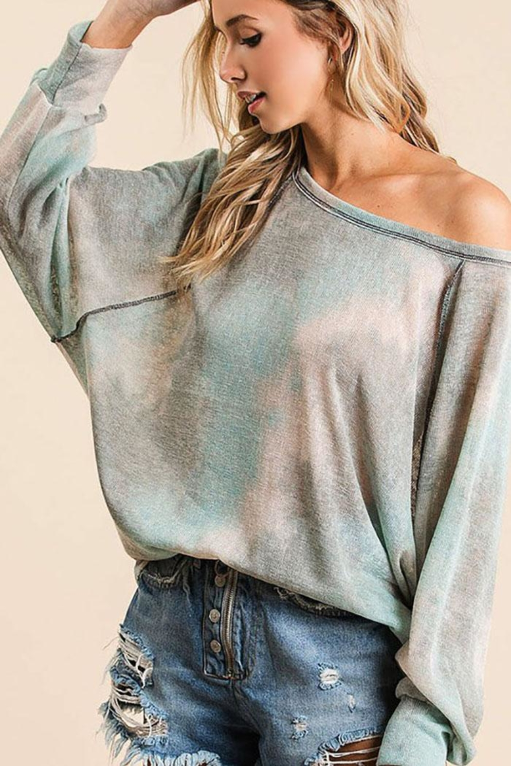 Bibi Tie Dye Loose Fit Top With Stitching Details - Main Image