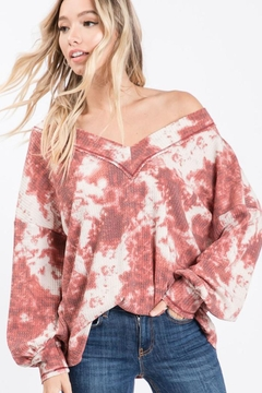 Bibi Tie Dye Thermal Waffle V Neck Top With Puff Sleeves - Product List Image