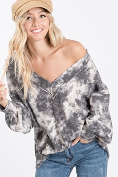 Bibi Tie Dye Thermal Waffle V Neck Top With Puff Sleeves - Alternate List Image