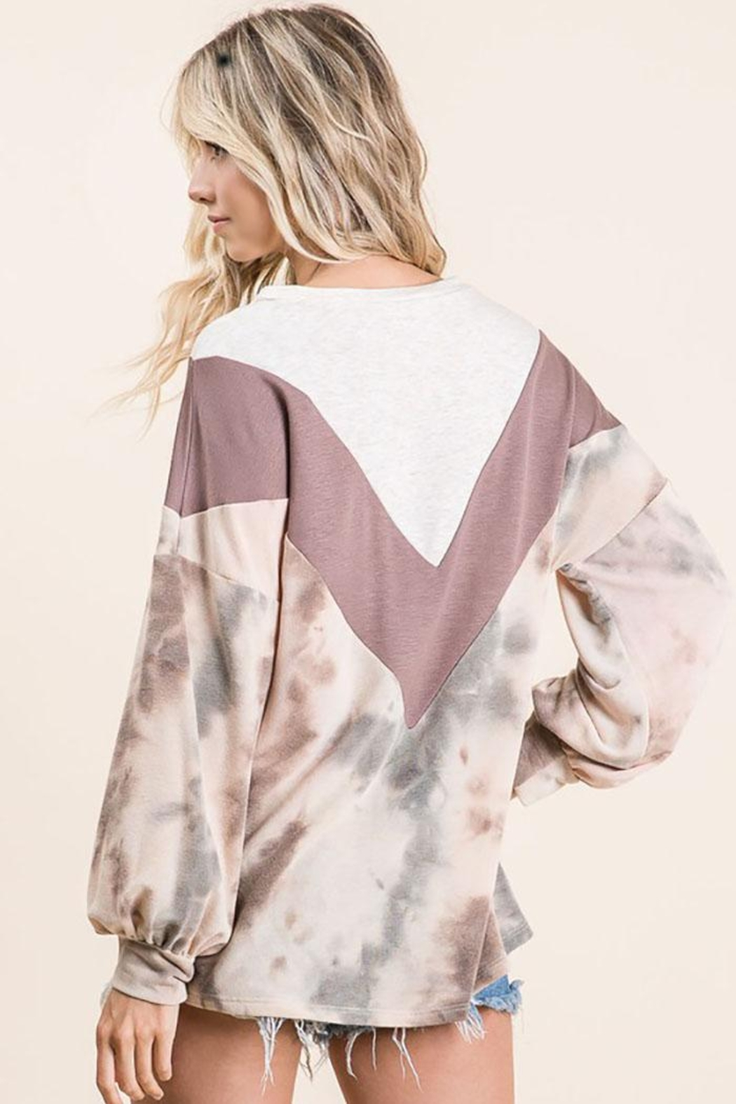 Bibi Tie Dye With Chevron Colorblock Contrast Terry Top - Back Cropped Image
