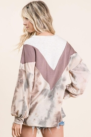 Bibi Tie Dye With Chevron Colorblock Contrast Terry Top - Back cropped