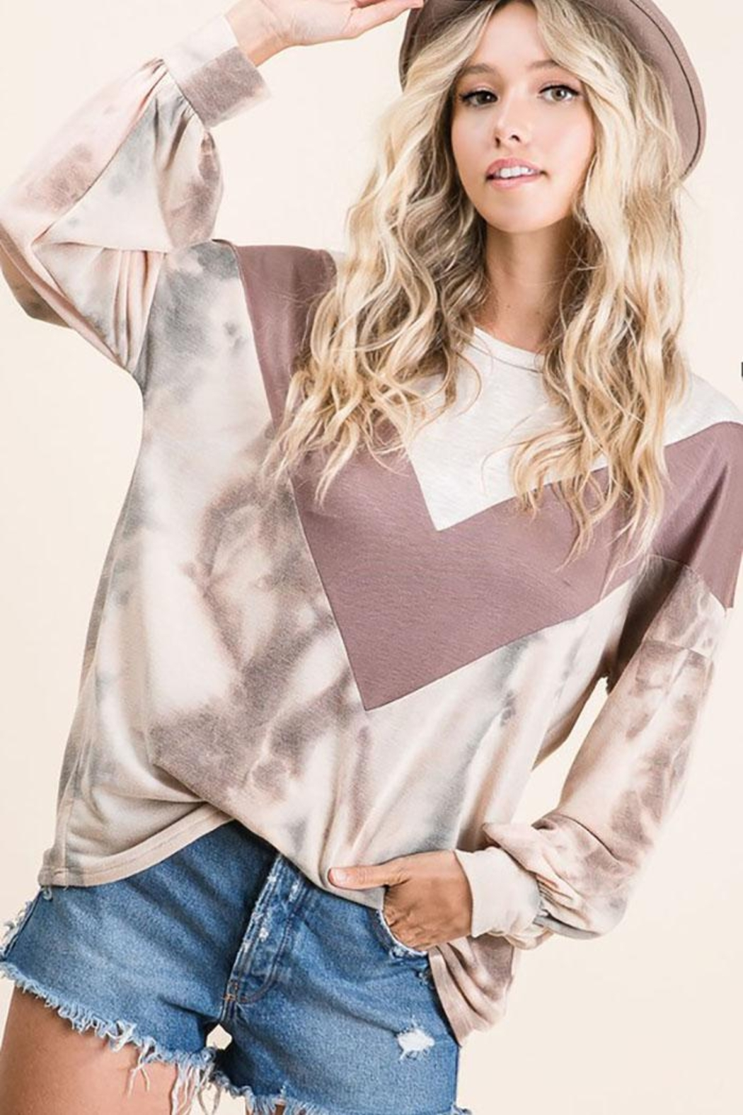 Bibi Tie Dye With Chevron Colorblock Contrast Terry Top - Side Cropped Image