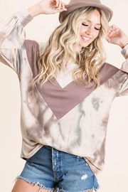 Bibi Tie Dye With Chevron Colorblock Contrast Terry Top - Product Mini Image
