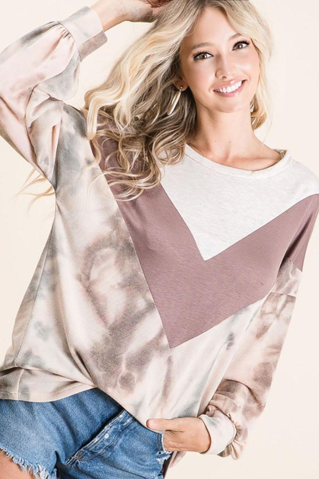 Bibi Tie Dye With Chevron Colorblock Contrast Terry Top - Front Full Image
