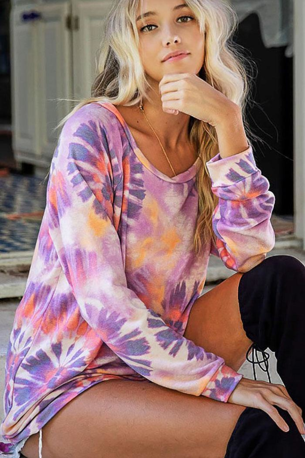 Bibi Unique Tie Dye Terry Pullover Top - Side Cropped Image
