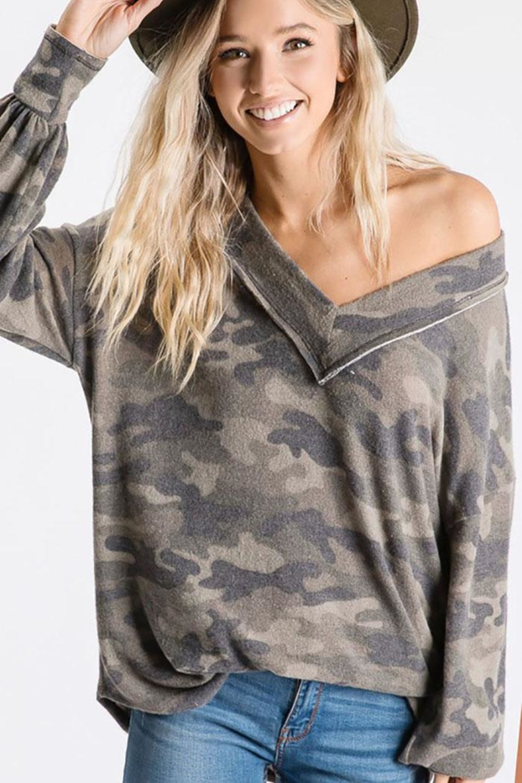 Bibi Vintage Camouflage Puff Sleeve Top - Front Full Image