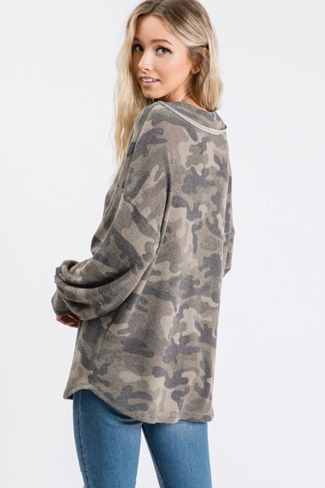 Bibi Vintage Camouflage Puff Sleeve Top - Side Cropped Image