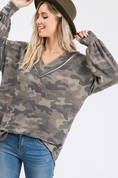 Bibi Vintage Camouflage Puff Sleeve Top - Product List Image