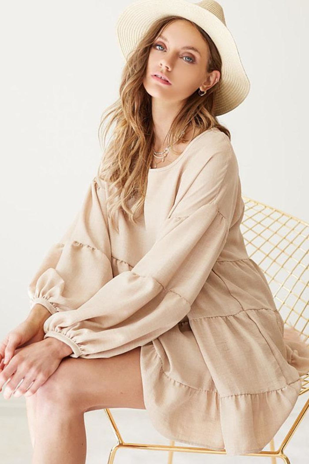 Bibi Washed Linen Babydoll Woven Tunic Top With Puff Bubble Sleeve - Front Full Image
