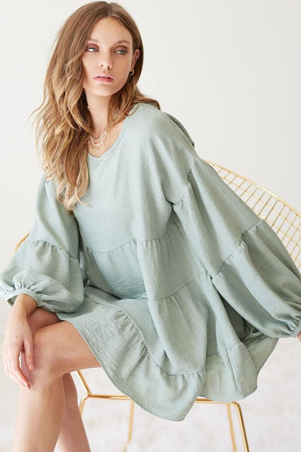 Bibi Washed Linen Babydoll Woven Tunic Top With Puff Bubble Sleeve - Main Image