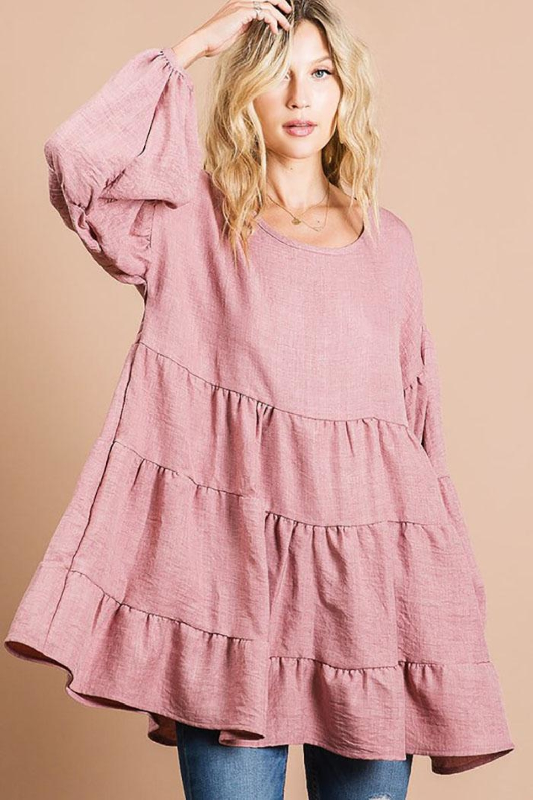 Bibi Washed Linen Babydoll Woven Tunic Top With Puff Bubble Sleeve - Front Cropped Image