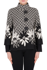 Joseph Ribkoff  Big Button Jacket Black and Off White - Product Mini Image