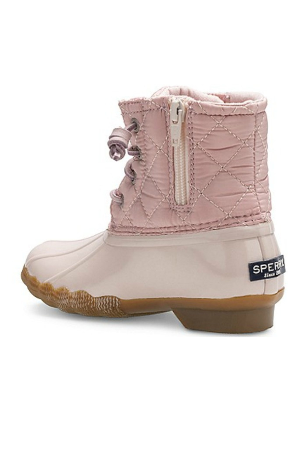 Sperry Big Kid's Saltwater Boot in Blush - Front Full Image