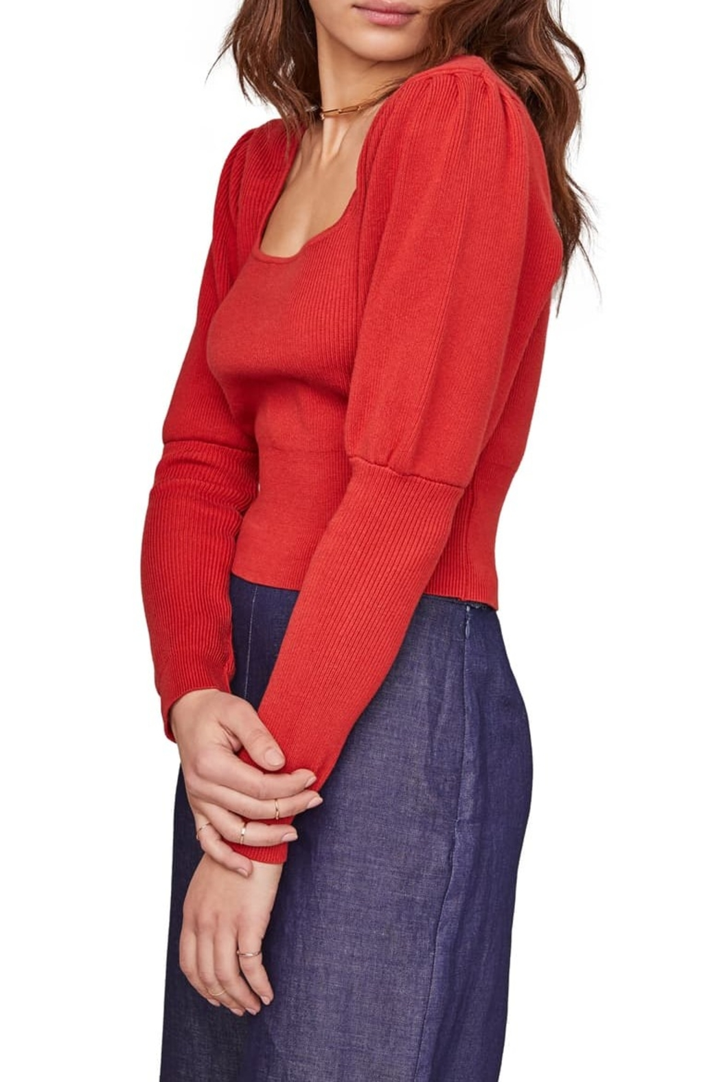 ASTR the Label Bijou Square Neck Sweater - Front Full Image