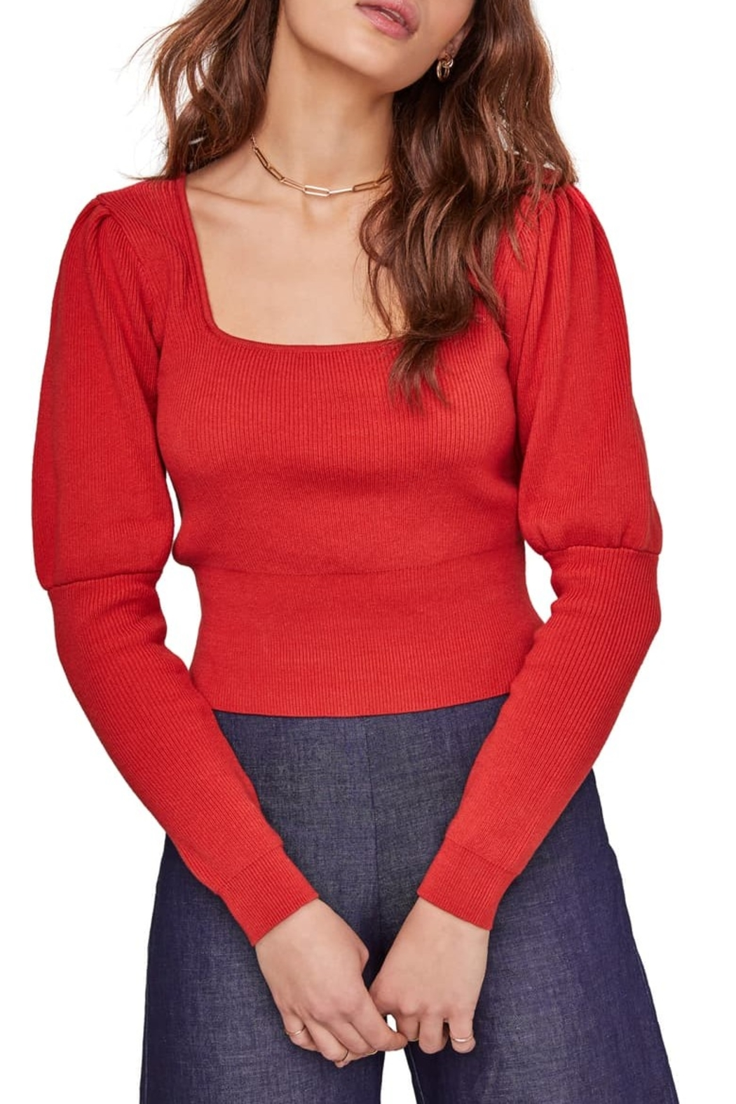 ASTR the Label Bijou Square Neck Sweater - Front Cropped Image