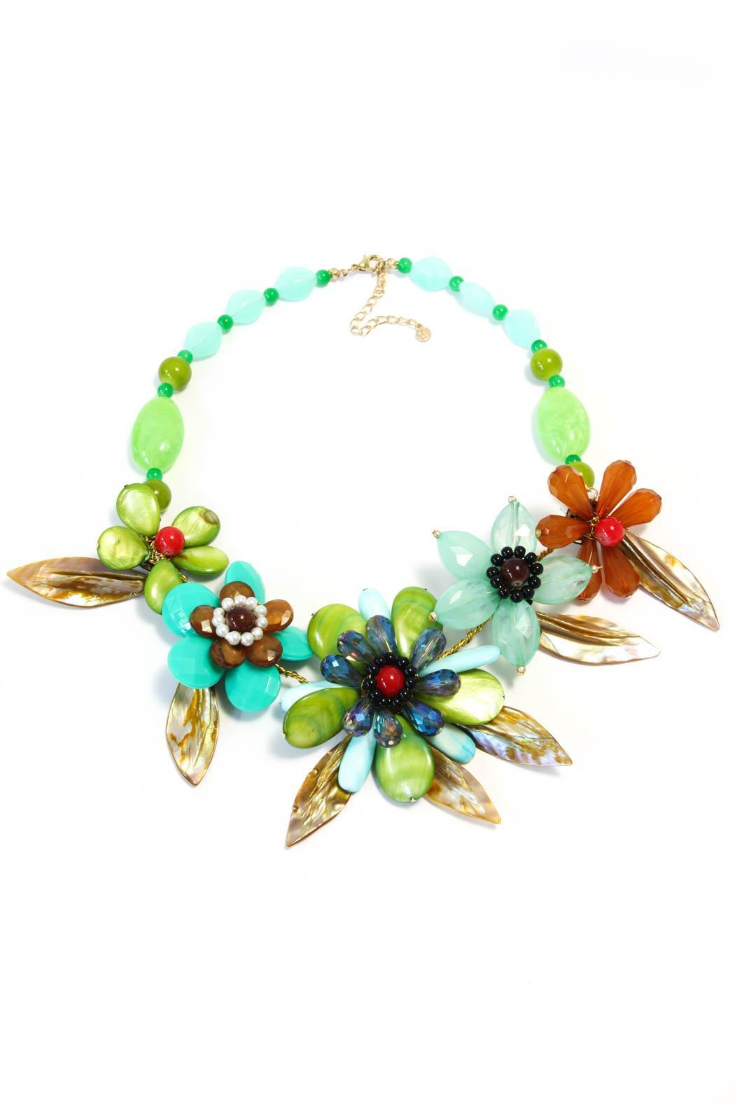 Bijoux du Monde Flower Statement Necklace - Front Cropped Image