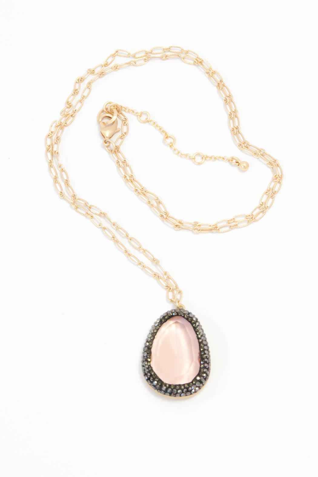 Bijoux du Monde Pink Faceted Necklace - Front Cropped Image