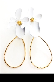 Bijoux du Monde White Flower Earrings - Product Mini Image