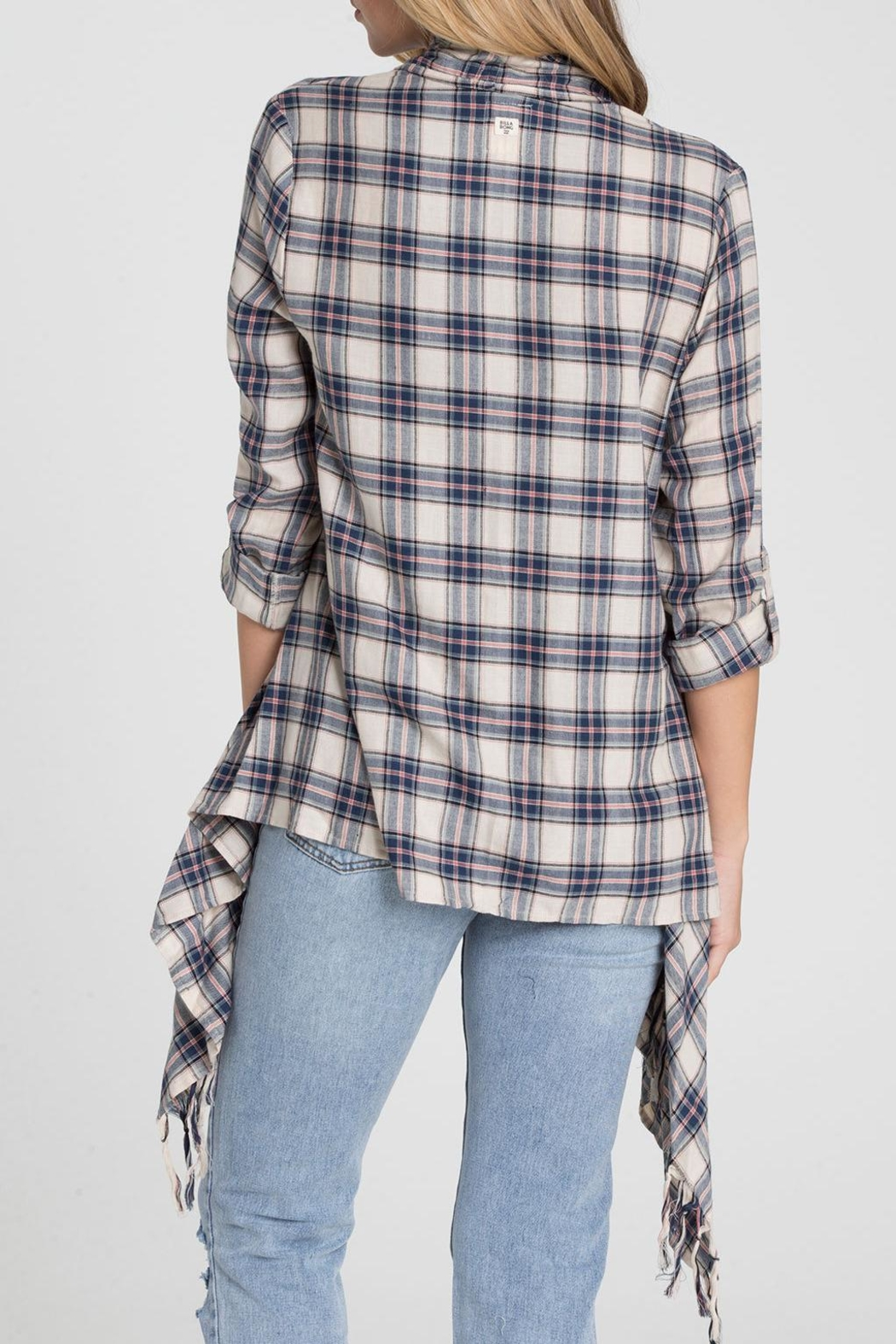 Billabong Blue Plaid Kimono - Side Cropped Image