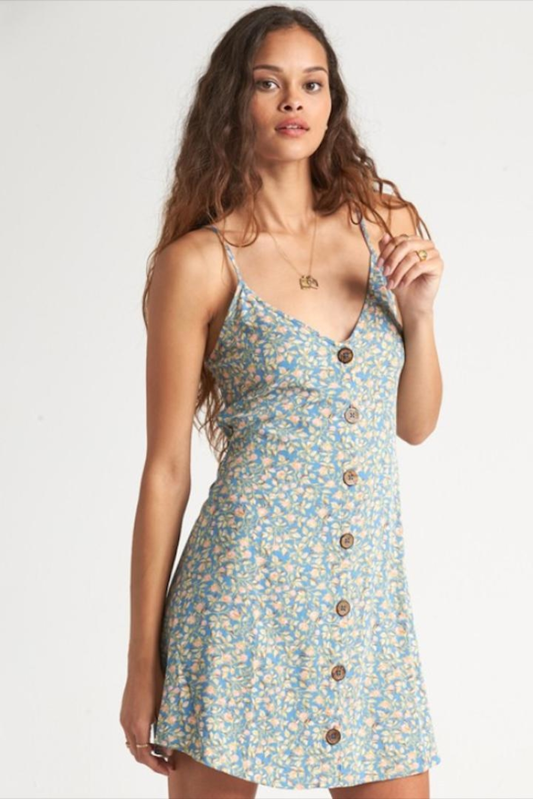 Billabong Floral Button-Up Dress - Front Cropped Image