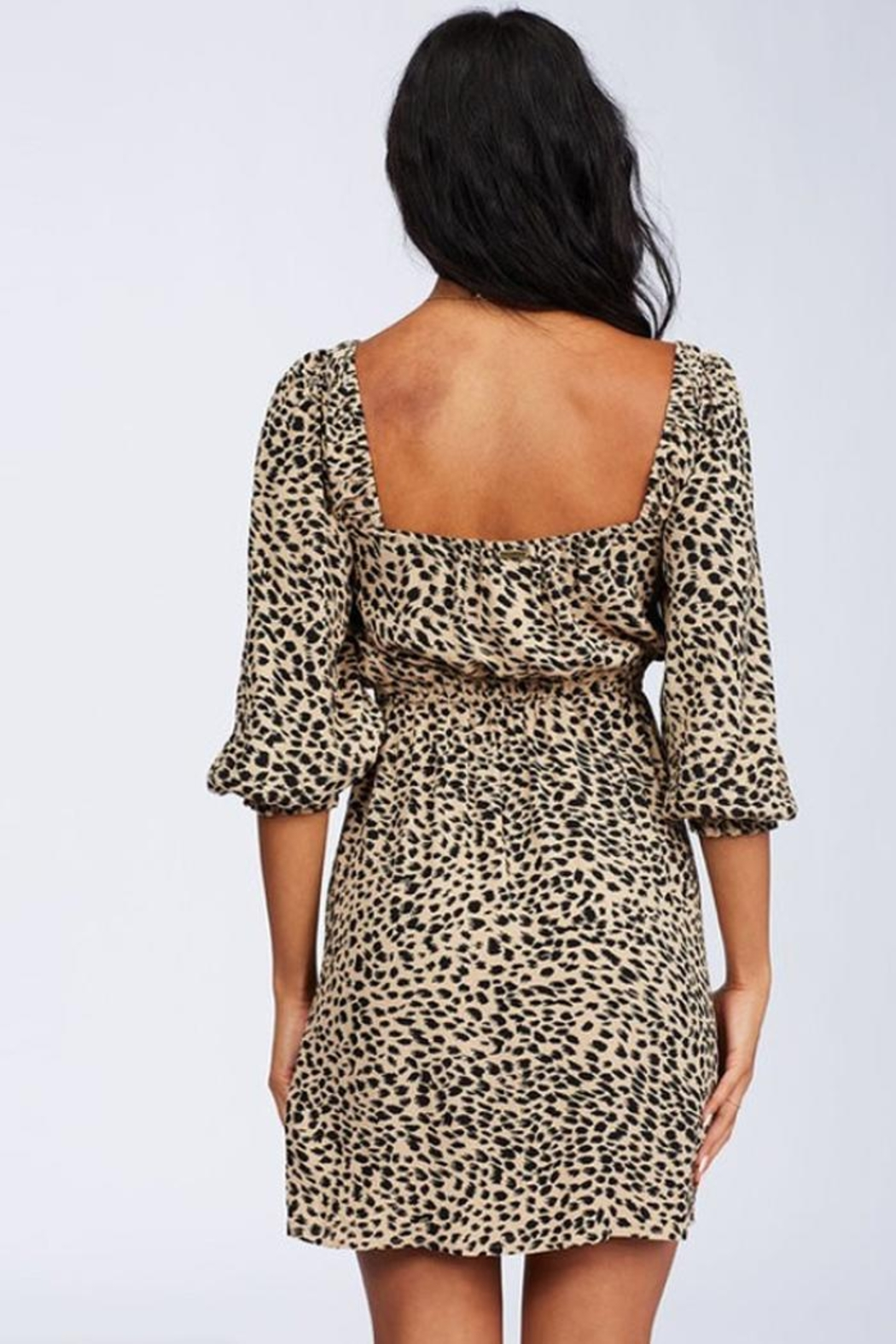 Billabong Leopard Puff-Sleeve Dress - Side Cropped Image