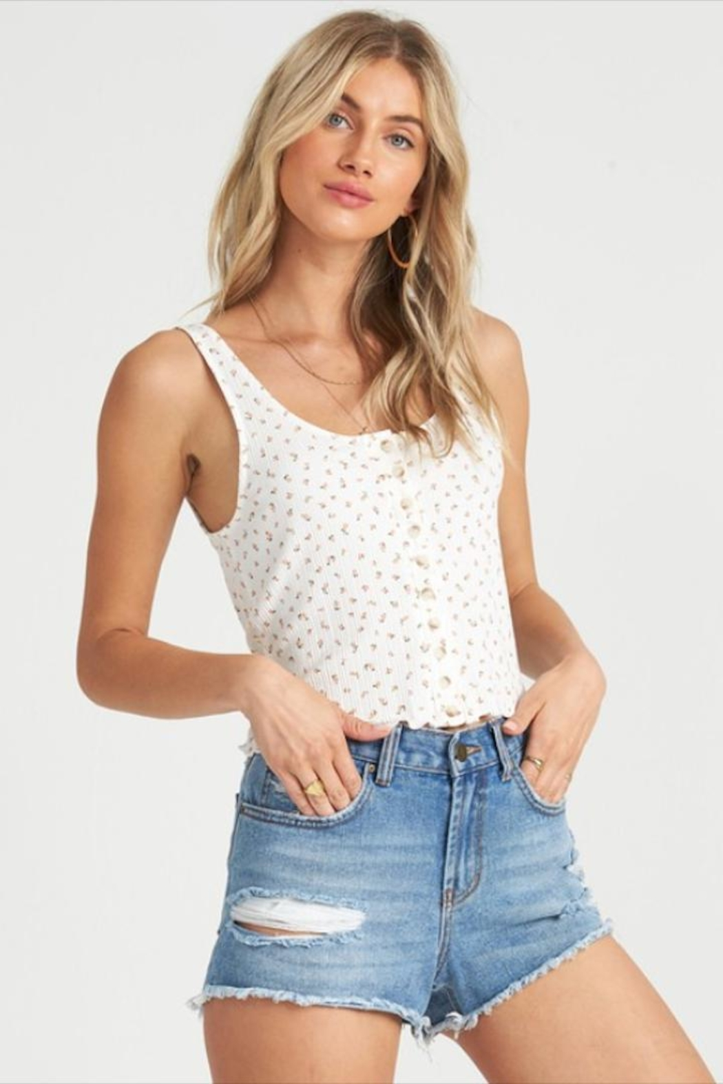 Billabong Simple Floral Tank - Front Cropped Image