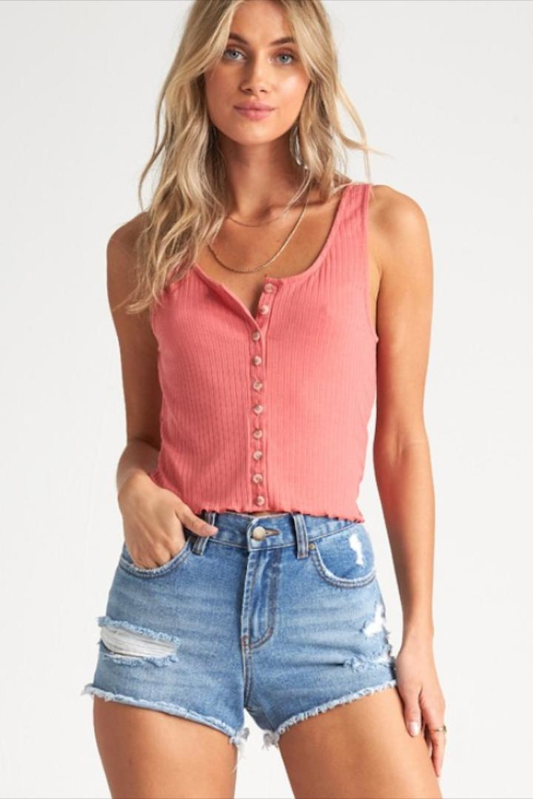 Billabong Textured Coral Tank - Front Cropped Image