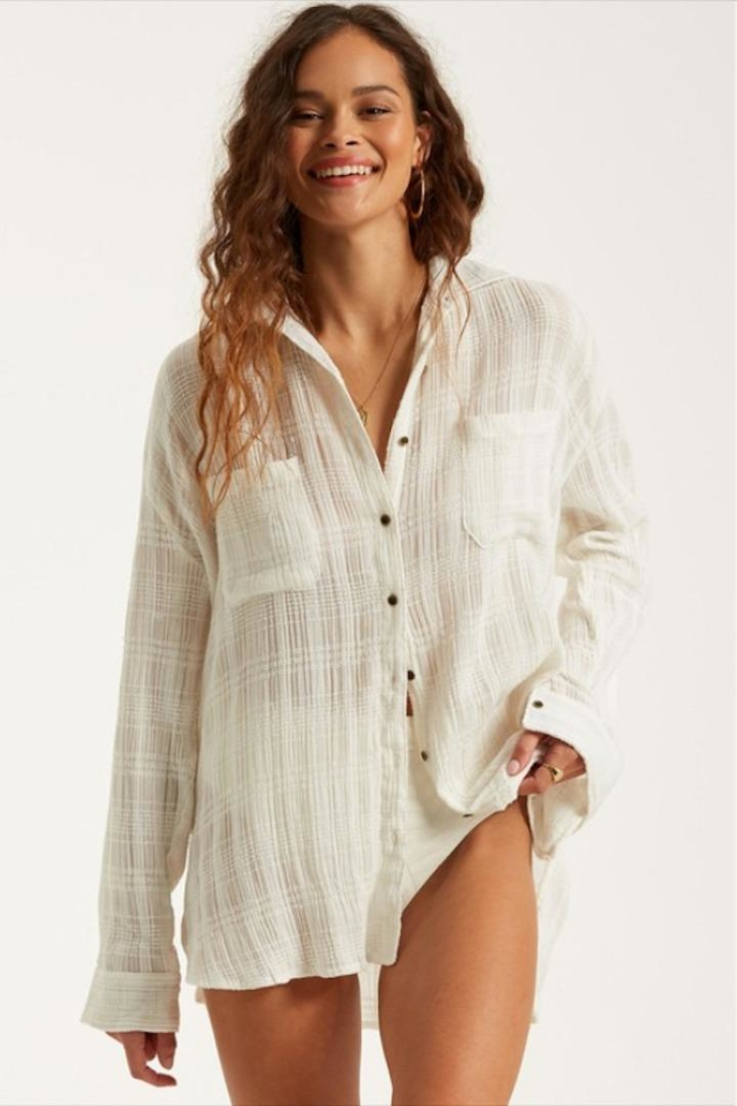 Billabong Woven Sheer Button-Up - Front Cropped Image