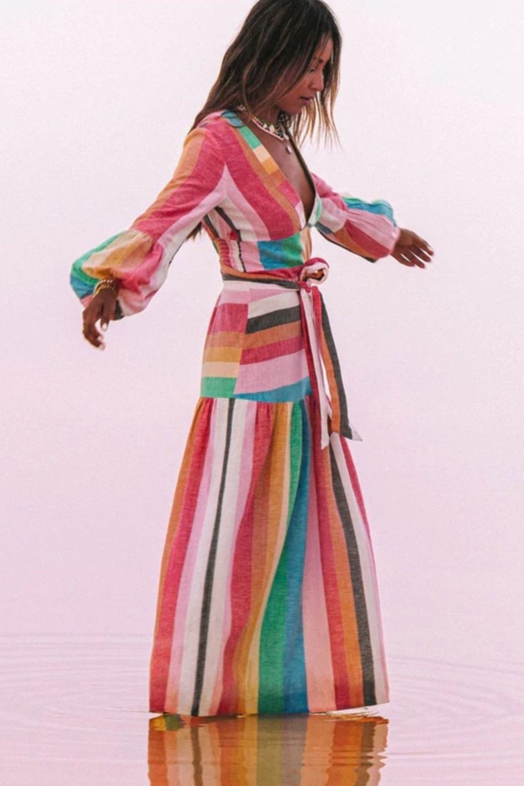 Billabong x Sincerely Jules Mix It Up Maxi Dress - Front Cropped Image