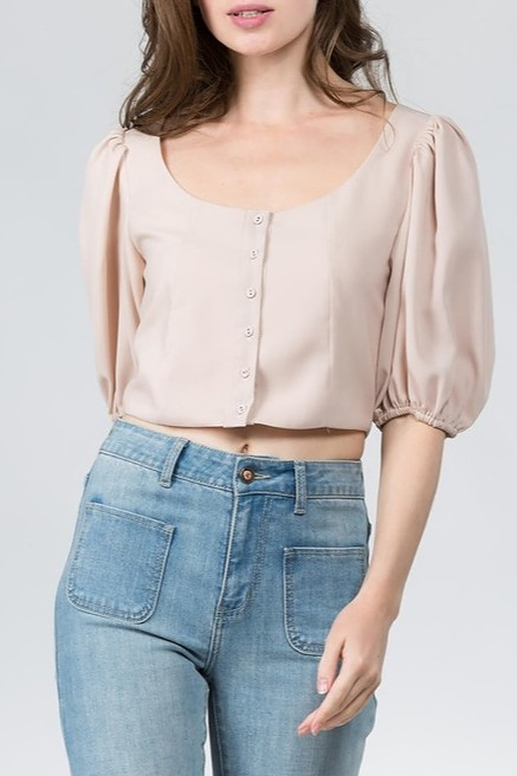 On Twelfth Billow Sleeve Crop Top - Front Cropped Image
