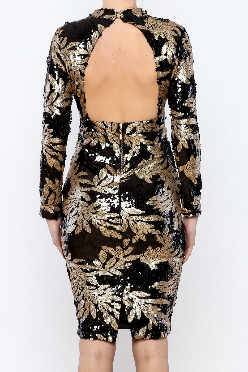 e6331ac109d Bio Black Gold Sequin Dress from Brooklyn by BB Collective — Shoptiques