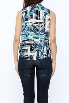 Shoptiques Product: Blue Print Overlap Sleeveless Top