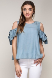 Bio Cold-Shoulder Denim Top - Product Mini Image