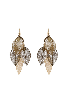 Shoptiques Product: Gold Leaf Dangling Earrings