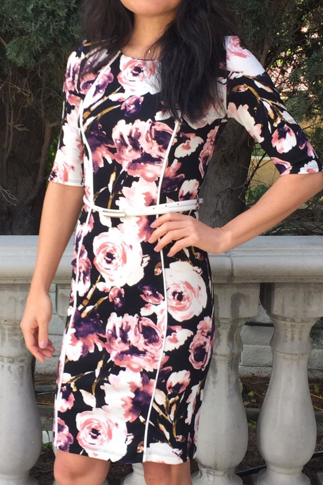 Bio Pink Floral Dress - Front Cropped Image