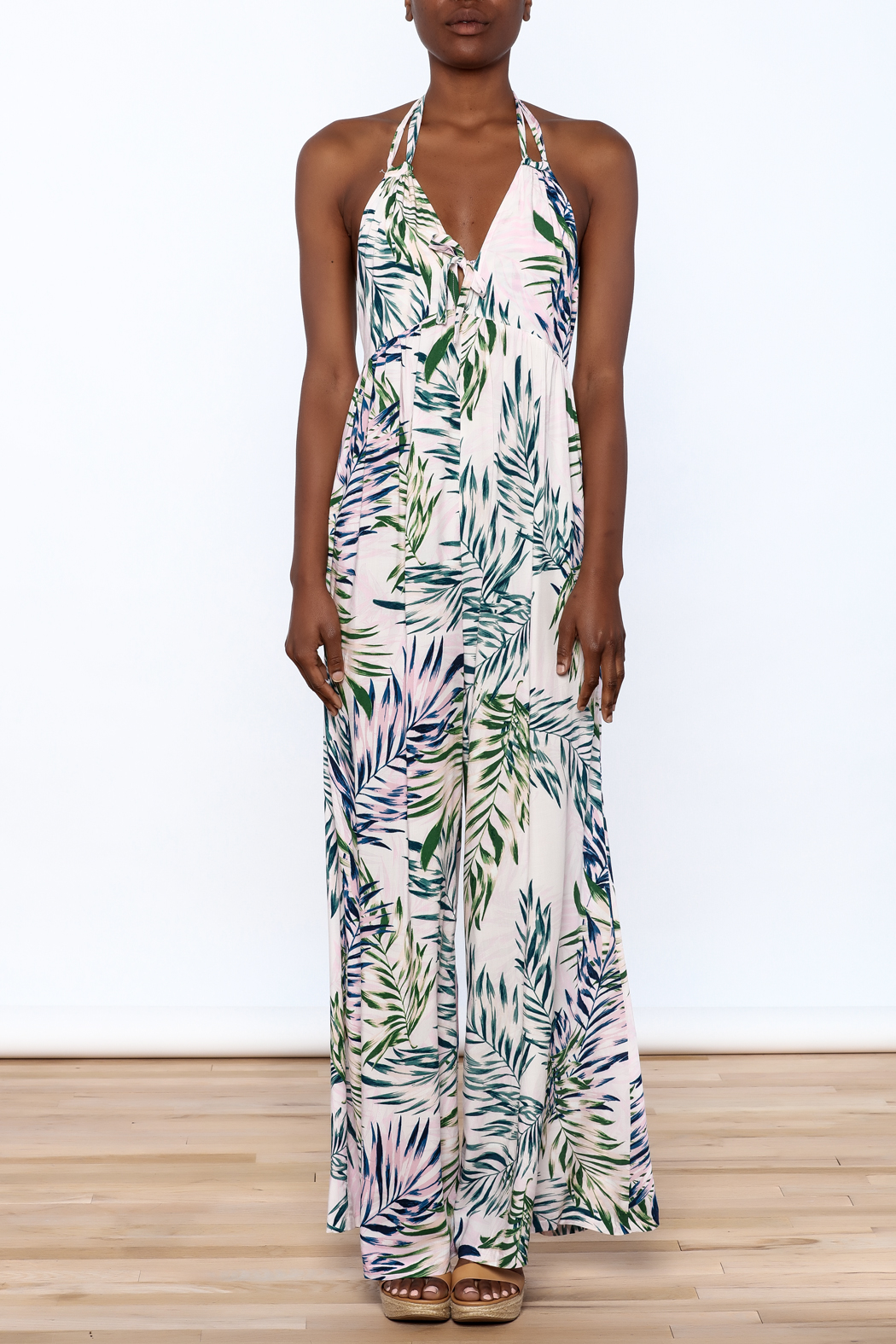 57d90eaa9877 Bio Palm Leaf Print Jumpsuit from Brooklyn by BB Collective — Shoptiques