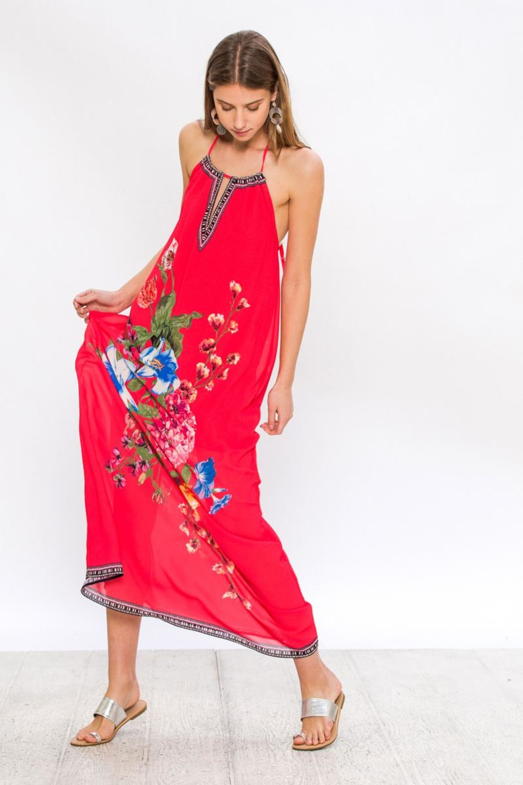 Bio Red Halter Maxi - Back Cropped Image