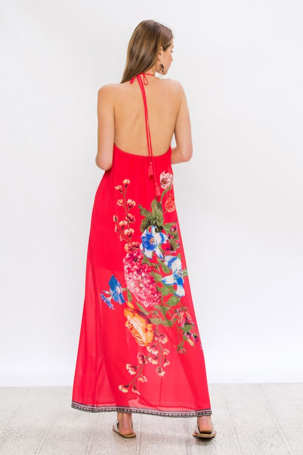 Bio Red Halter Maxi - Side Cropped Image
