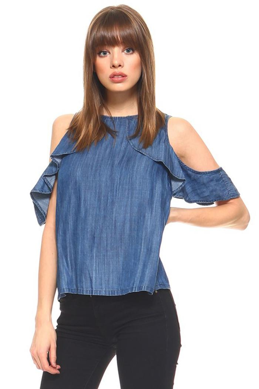 Bio Ruffle Cold-Shoulder Top - Front Cropped Image