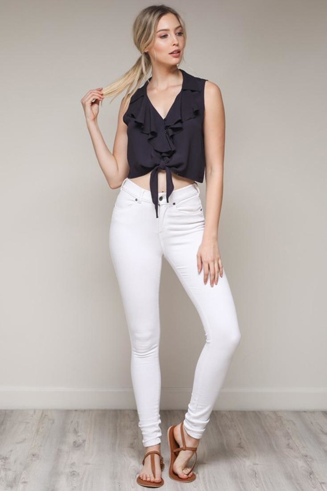 Bio Ruffle Tie Top - Front Cropped Image
