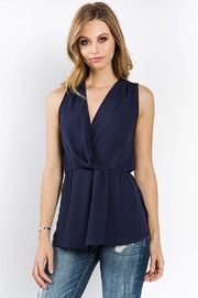 Bio Shirring Navy Blouse - Front cropped