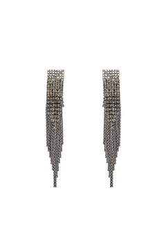 Shoptiques Product: Silver Rhinestone Dangling Earrings